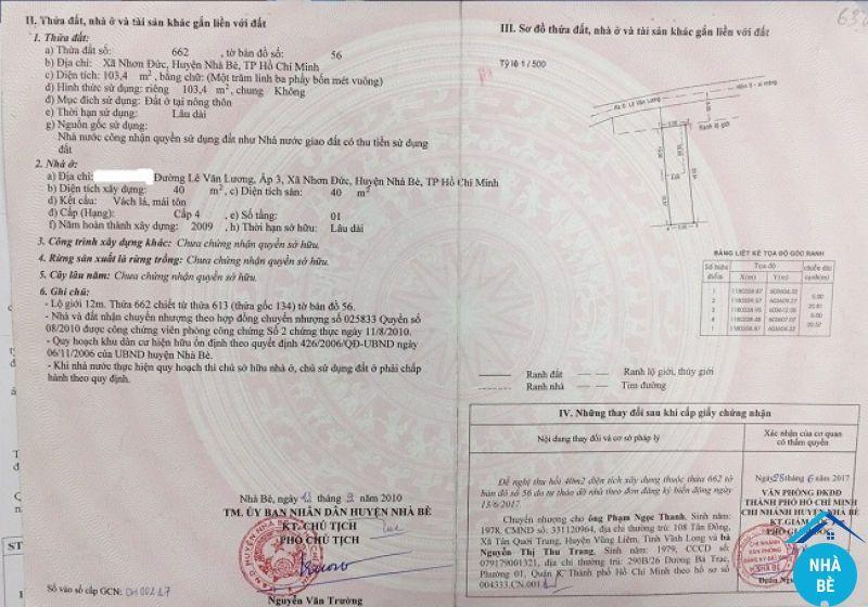 Bán đất hẻm Lê Văn Lương Nhơn Đức Nhà Bè 103m2