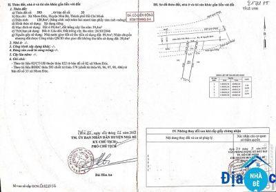 Bán đất hẻm 855 Nguyễn Bình Nhơn Đức Nhà Bè 128m2